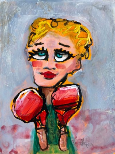 Cindy Suzi Sluggers Cousin - Painting by JanettMarie