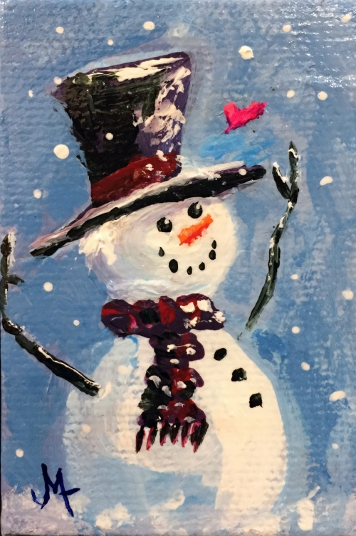 Heart Snowman - Painting by JanettMarie