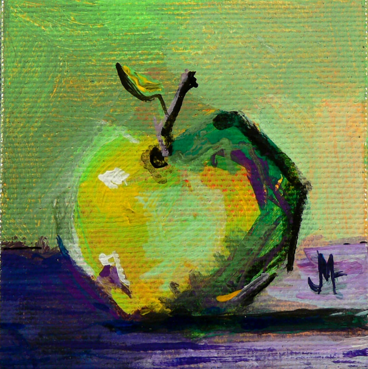 Little Green Apple - Painting by JanettMarie