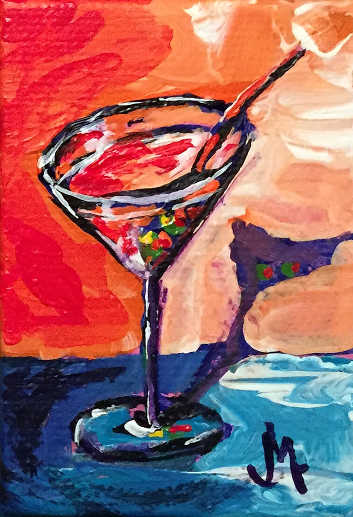 Mini Martini - Painting by JanettMarie