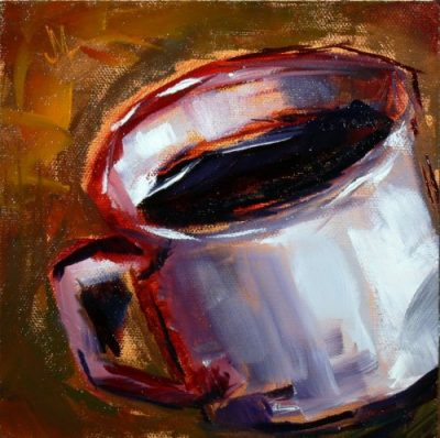 One More Cup of Coffee - Painting by JanettMarie