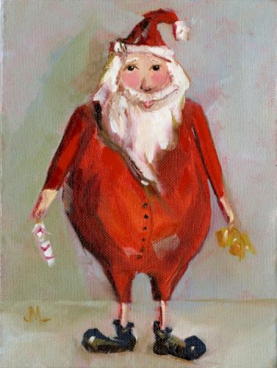Pajama Claus - Painting by JanettMarie