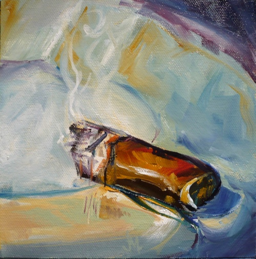 Short Cigar 1 - Painting by JanettMarie