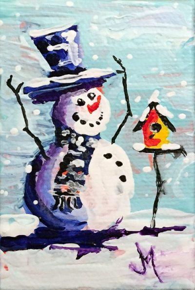 Snowman 3 - Paintings by JanettMarie