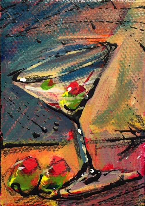 Two Martini - Painting by JanettMarie