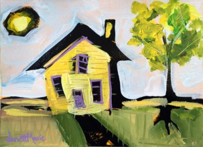 Yellow House - Painting by JanettMarie